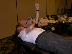 Dennis donating blood