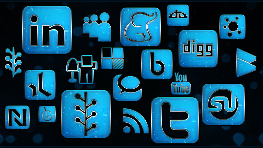 blue chrome rain social networking icons webtreats preview on civic site design